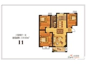 I1户型图-3室2厅1卫1厨110.63㎡